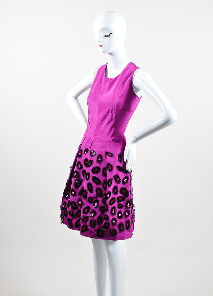 Fuchsia and Black Oscar de la Renta Silk Sequin Embellished Sheath Dress Sideview