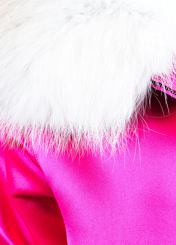 Magenta and White Oscar de la Renta Silk Fox Fur Collar Padded Winter Coat Detail
