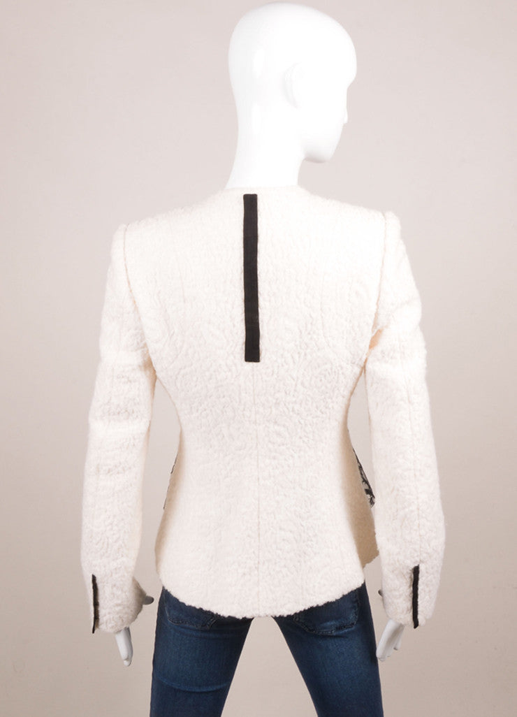 Prabal Gurung Ivory and Black Wool and Silk Lace Overlay Jacket Backview