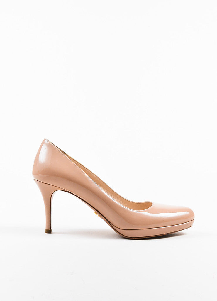 Prada Nude Patent Leather Almond Toe Pumps