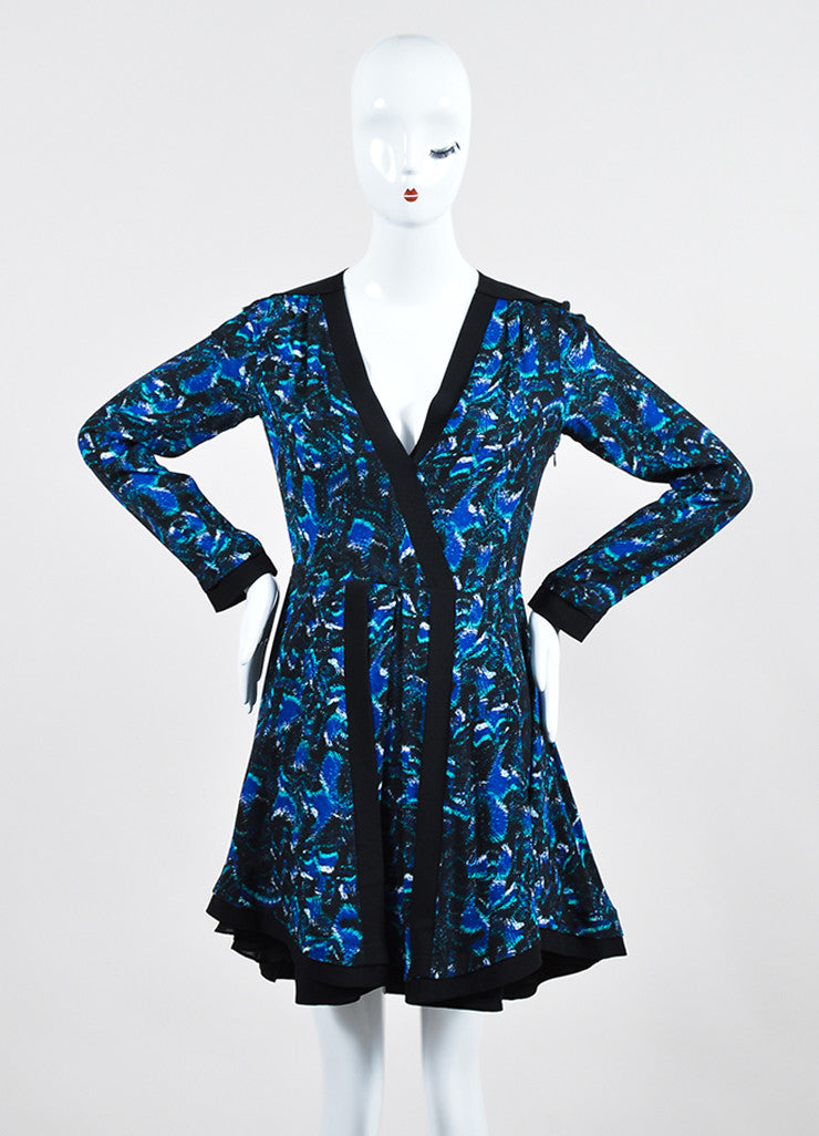 Black, Cobalt Blue, and Green Proenza Schouler Silk Printed Long Sleeve Pleated Dress Frontview