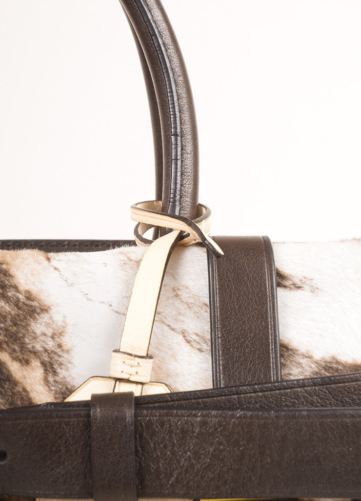 "Reed Krakoff Brown and Cream Animal Print Pony Hair and Leather ""Boxer"" Tote Bag Detail 2"