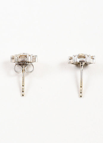 Roberto Coin 18K White Gold Diamond Hexagon Post Earrings Topview