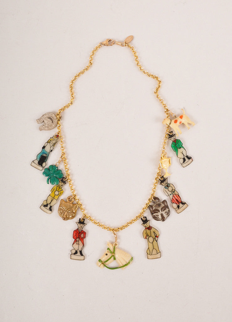 Rodarte New Gold Toned and Multicolor Fox and Hound Charm Necklace Frontview