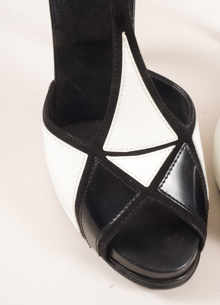Roger Vivier Black and White Suede Patent Leather Colorblock T-Strap Pumps Detail