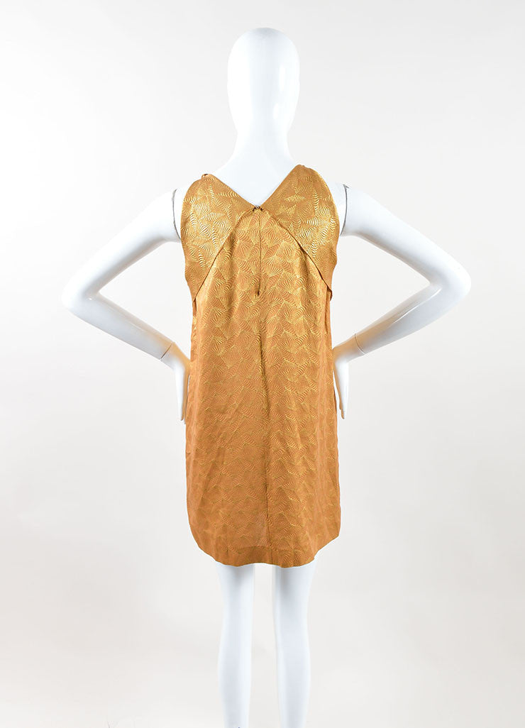 Roland Mouret Metallic Gold Silk Blend Geometric Sleeveless Mini Dress Backview