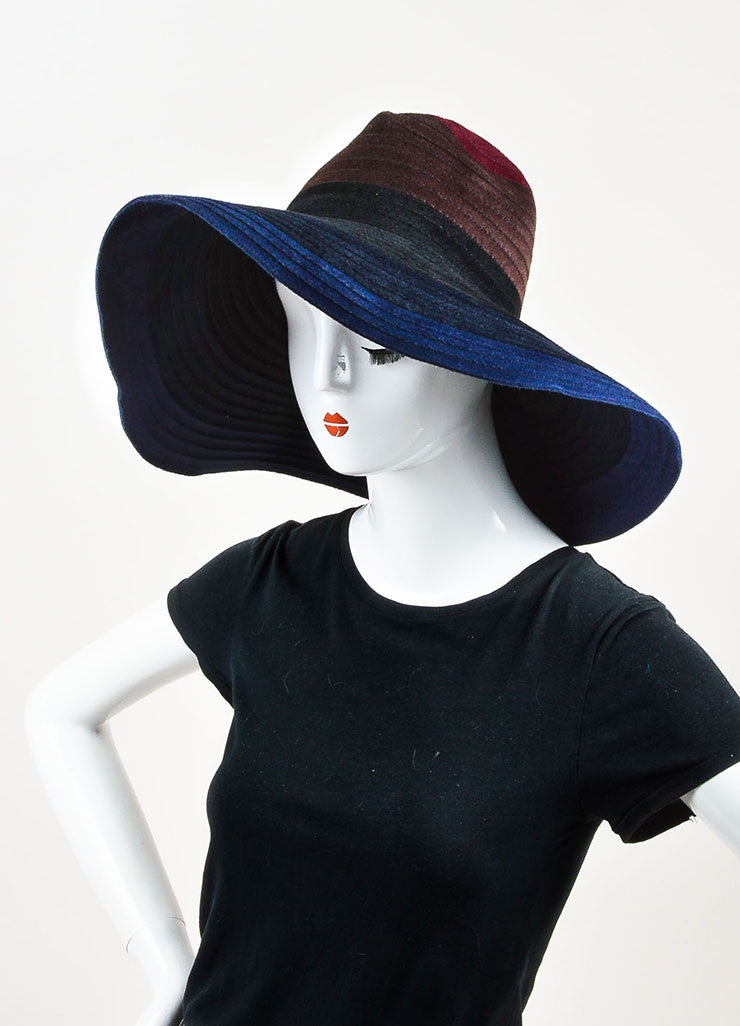 ¥éËThomas Maier Maroon, Brown, and Navy Ombre Rabbit Hair Floppy Sun Hat Sideview