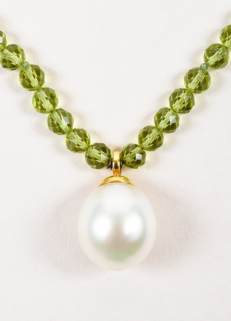 Tiffany & Co. Green 18K Yellow Gold Pearl Peridot Stone Pendant Necklace Detail 2