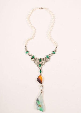 Tom Binns White, Green, and Brown Faux Pearl and Rhinestone Drop Statement Necklace Frontview