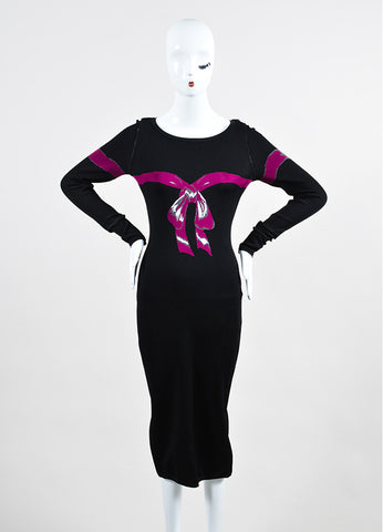 Black and Fuchsia Alaia Long Sleeve Bow Bodycon Dress Frontview