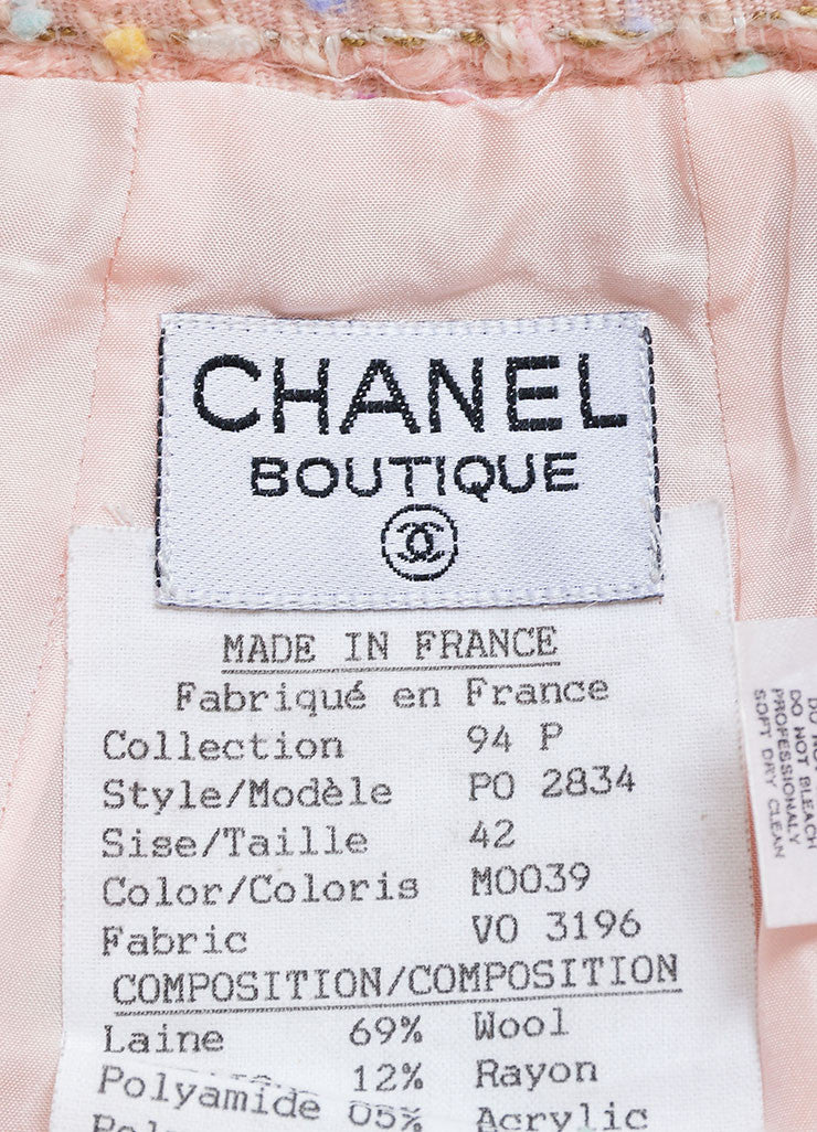 Chanel Pastel Pink and Multicolor Wool Tweed Pencil Skirt Brand
