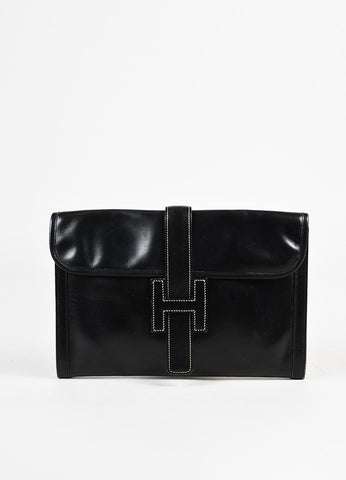 "Hermes Black Canvas and Box Calf Leather 'H' ""Jige"" PM Clutch Bag Frontview"