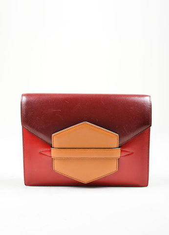 "Red, Maroon, and Tan Hermes Leather Color Block ""Baccara"" Envelope Clutch Frontview"