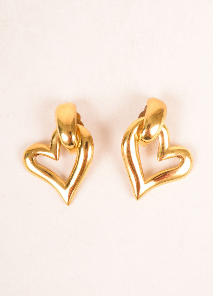 Yves Saint Laurent Gold Toned Open Heart Earrings Frontview