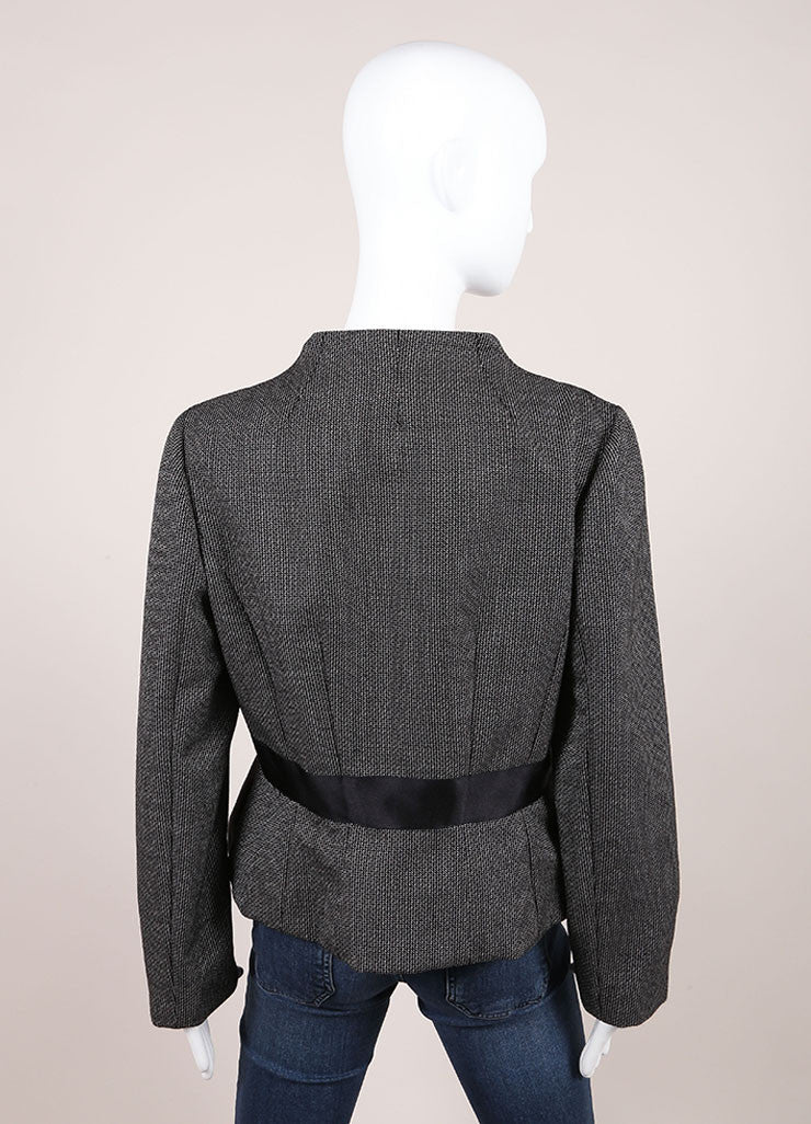 Valentino Black And White Wool Mohair Ruffle Trim Ribbon Belt Jacket Backview
