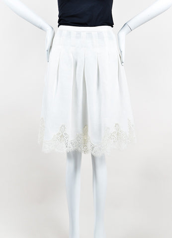 White Valentino Lace Trim Scalloped Knee Length A-Line Skirt Frontview