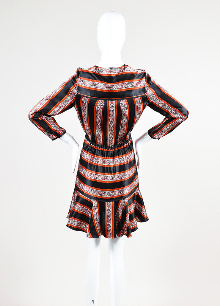 "Veronica Beard Black, Red, and White Silk Patterned Stripe ""Ivy"" Dress Backview"