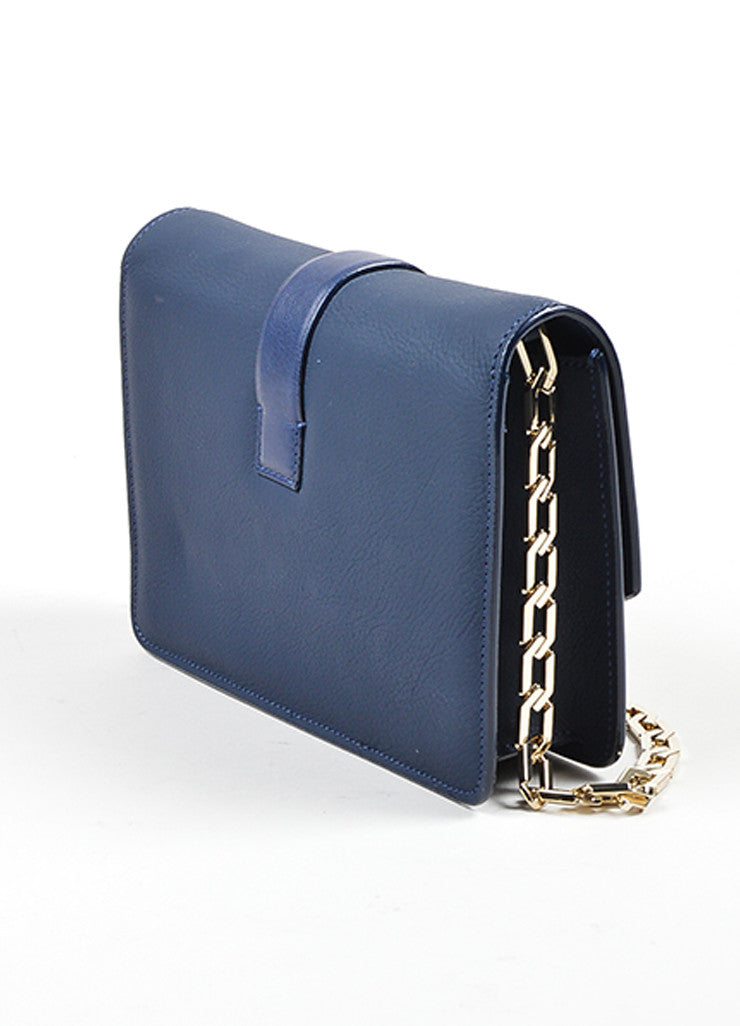 Navy Blue Victoria Beckham Leather Mini Chain Strap Satchel Bag Sideview