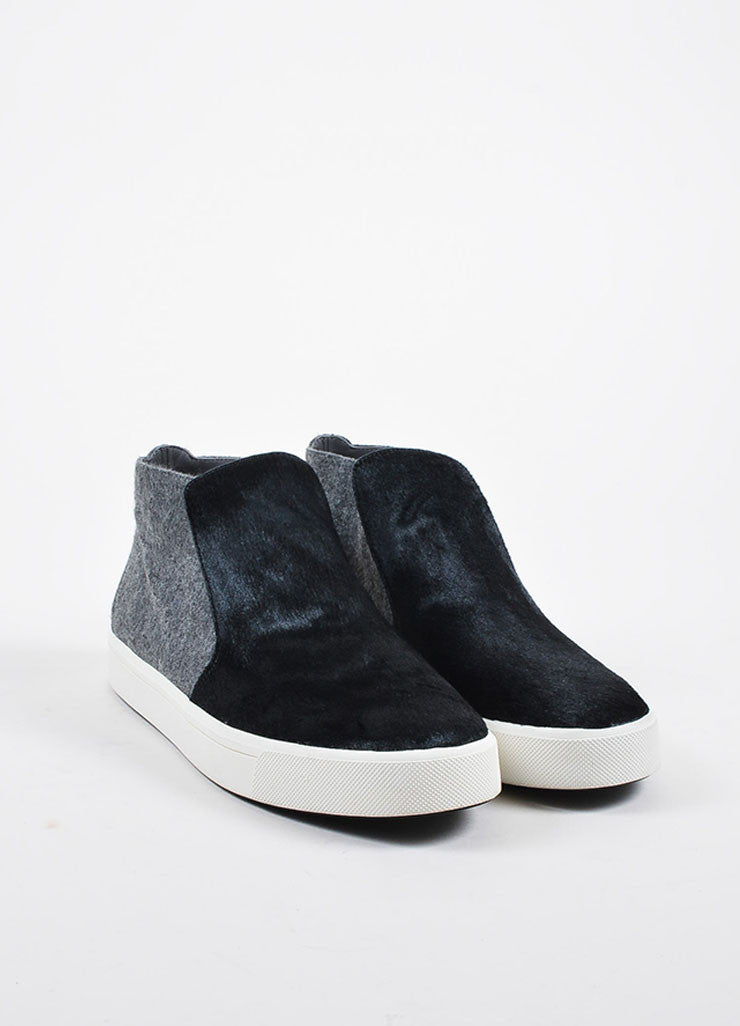 "Grey and Black Vince Pony Hair and Felt High Top ""Beck 2"" Slip On Sneakers Frontview"