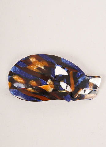 Lea Stein Blue and Brown Acetate Mosaic Curled Cat Brooch Frontview