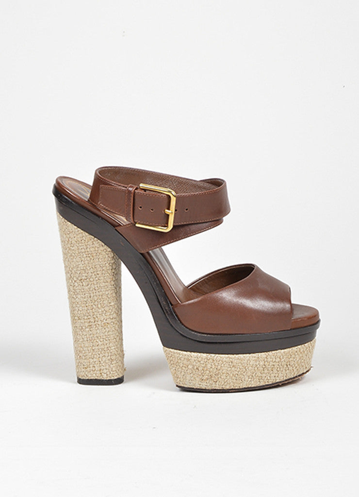 "Brown Yves Saint Laurent Leather and Linen Platform ""Flirty"" Sandals Sideview"