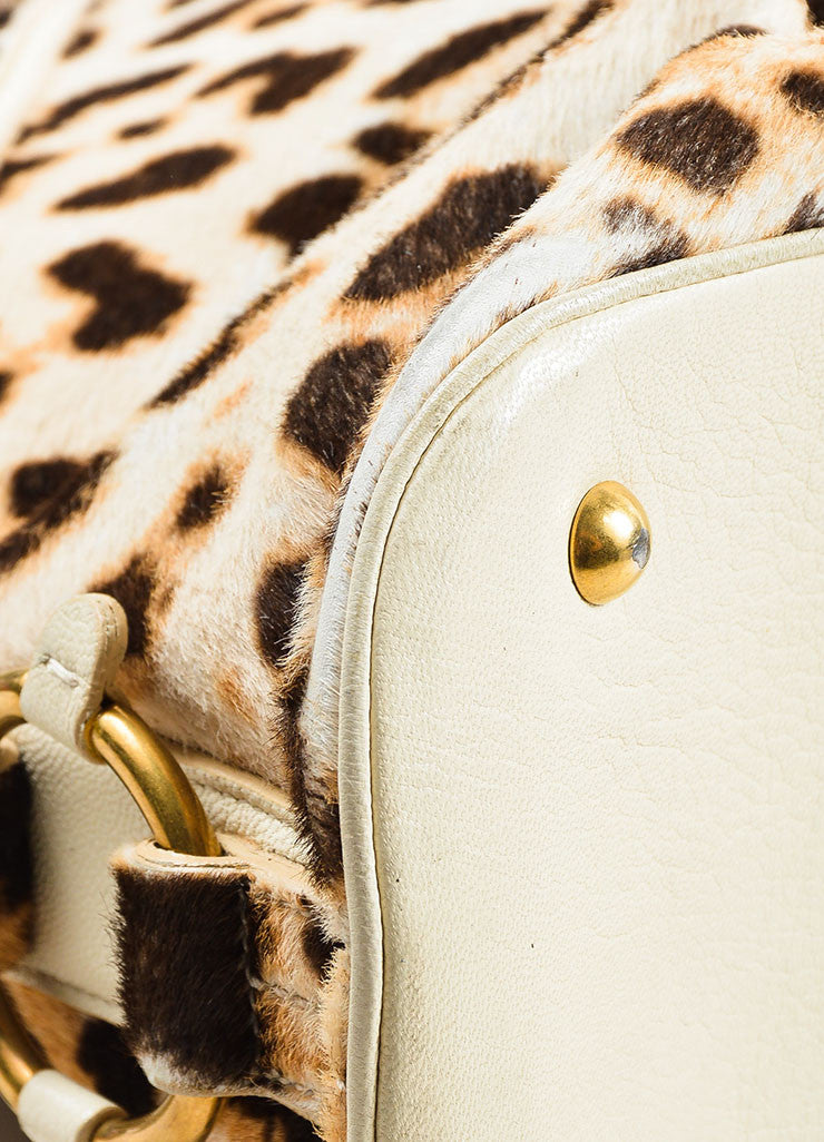 "Yves Saint Laurent Cream Leopard Print Pony Hair Leather ""Large Muse"" Bag Detail"