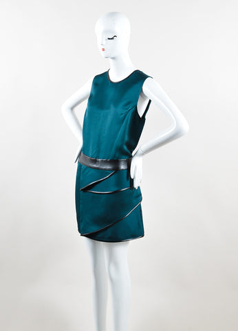 3.1 Phillip Lim Green and Black Faille Leather Trim Draped Sleeveless Dress Sideview