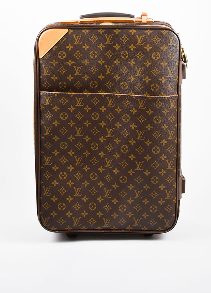 "Louis Vuitton Brown and Tan Coated Canvas Leather Trim ""Pegase 60"" Rolling Luggage Frontview"