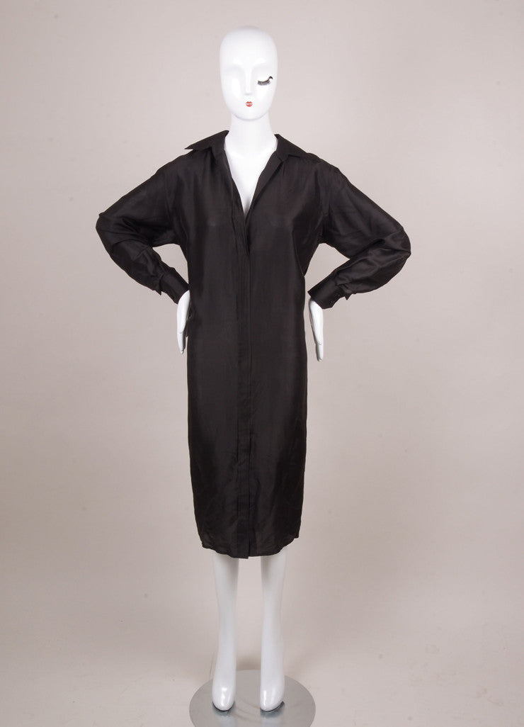 Black Silk Long Sleeve Minimal Tapered Shirt Dress