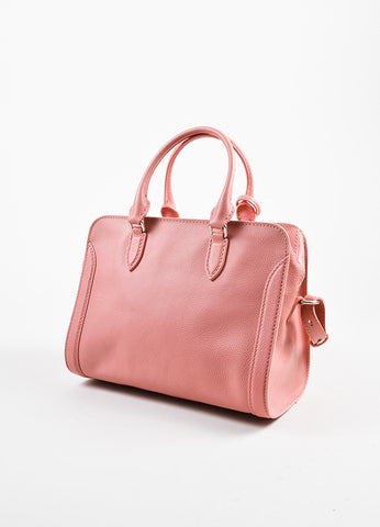 Pink Alexander McQueen Grained Leather Small Padlock Satchel Bag Back