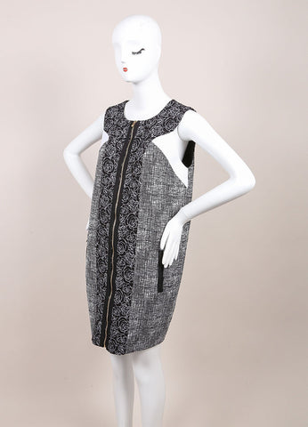 Andrew Gn New With Tags Black and White Tweed Floral Embroidered Sleeveless Dress Sideview