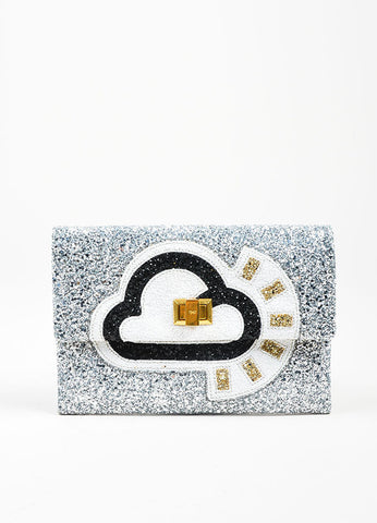 "Silver Glitter Anya Hindmarch Embellished Cloud ""Valorie"" Clutch Bag Frontview"