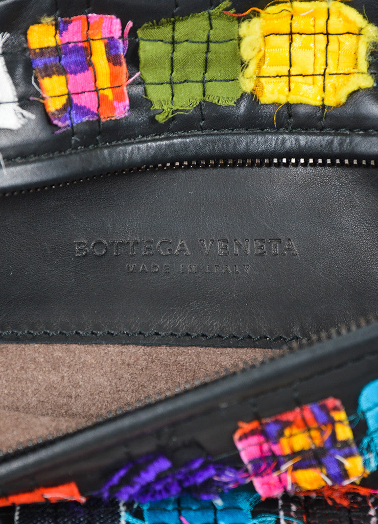 Black and Multicolor Bottega Veneta Patchwork Leather Oblong Zip Mirror Pull Clutch Brand