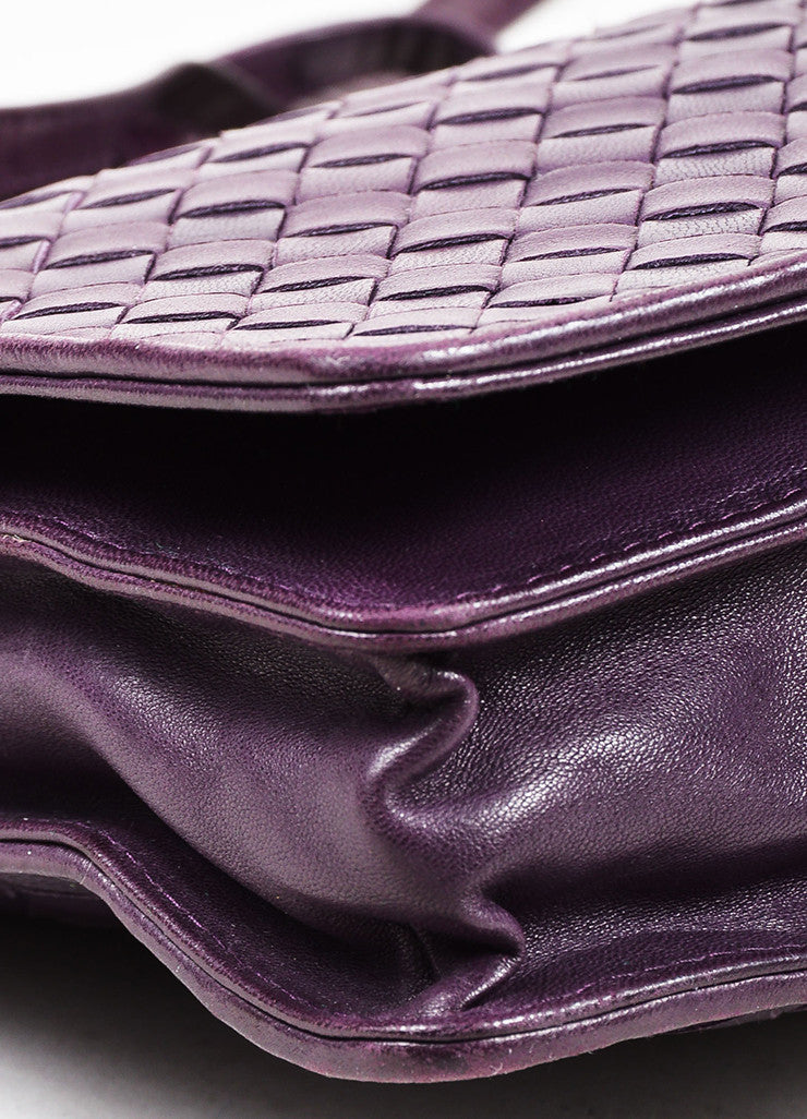 Bottega Veneta Purple Woven Leather Shoulder Flap Bag Detail