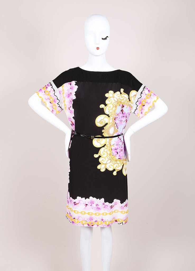 CLASS Roberto Cavalli New With Tags Black and Purple Silk Floral Print Shift Dress Frontview