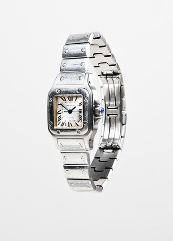 "Cartier Stainless Steel ""Santos de Cartier Galbee"" Automatic Bracelet Watch Sideview"