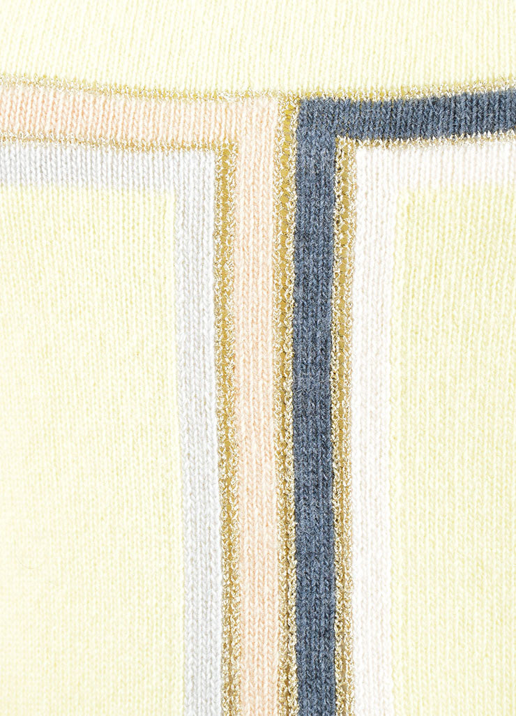 Chanel Yellow Multicolor Cashmere Striped Sleeveless Top Detail