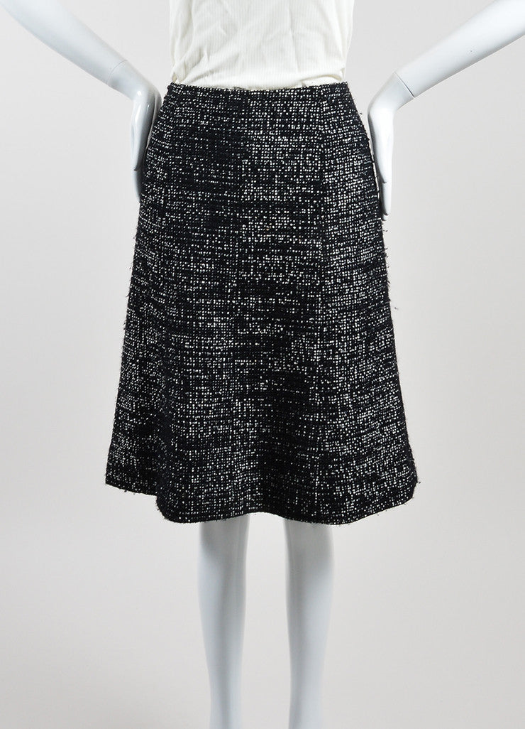 Black and White Chanel Wool Tweed 'CC' A-Line Knee Length Skirt Frontview