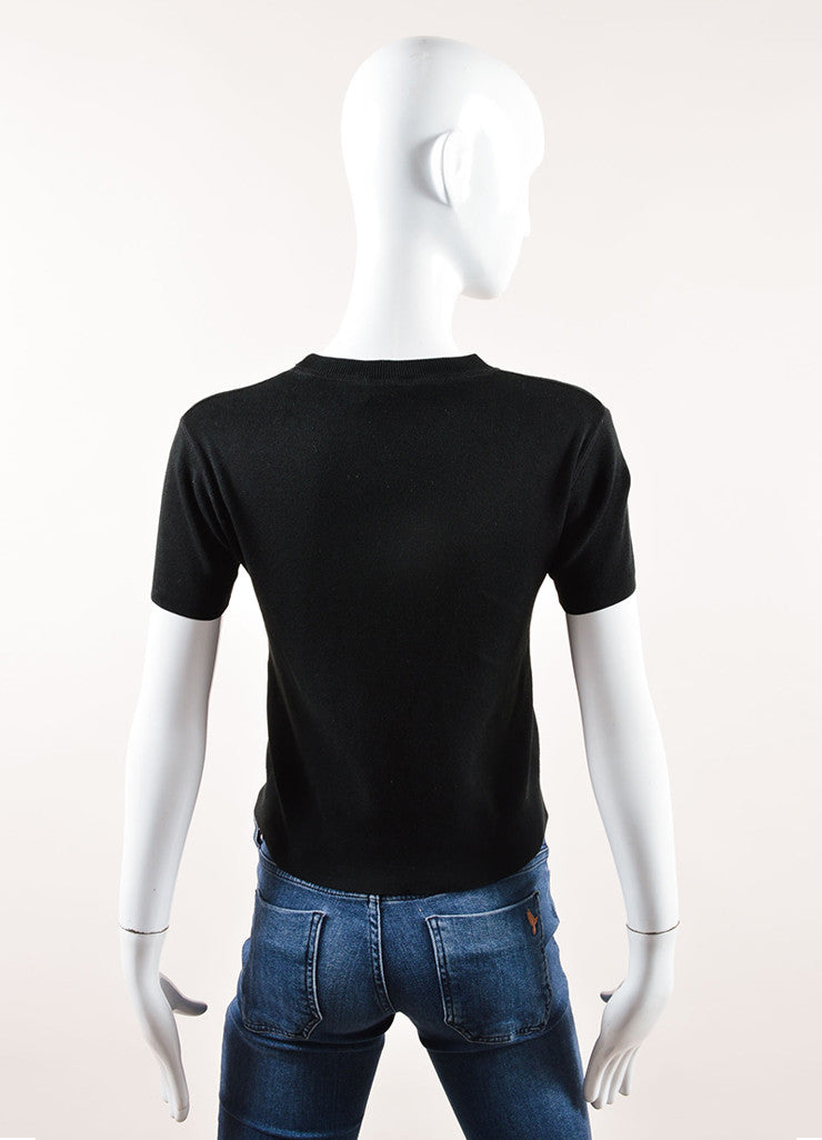 Chanel Black Stretch Knit Crew Neck Short Sleeve Tee Backview