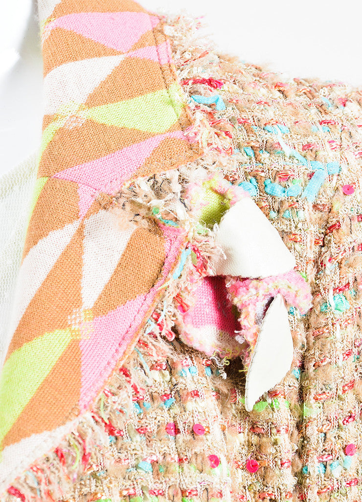 Chanel Tan and Multicolor Tweed Ribbon Knit Flower Jacket Detail
