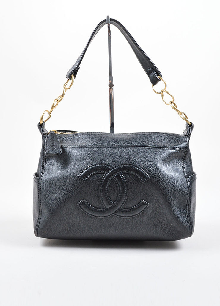 "Chanel Black ""CC"" Stitched Leather Chain Shoulder Bag Frontview"