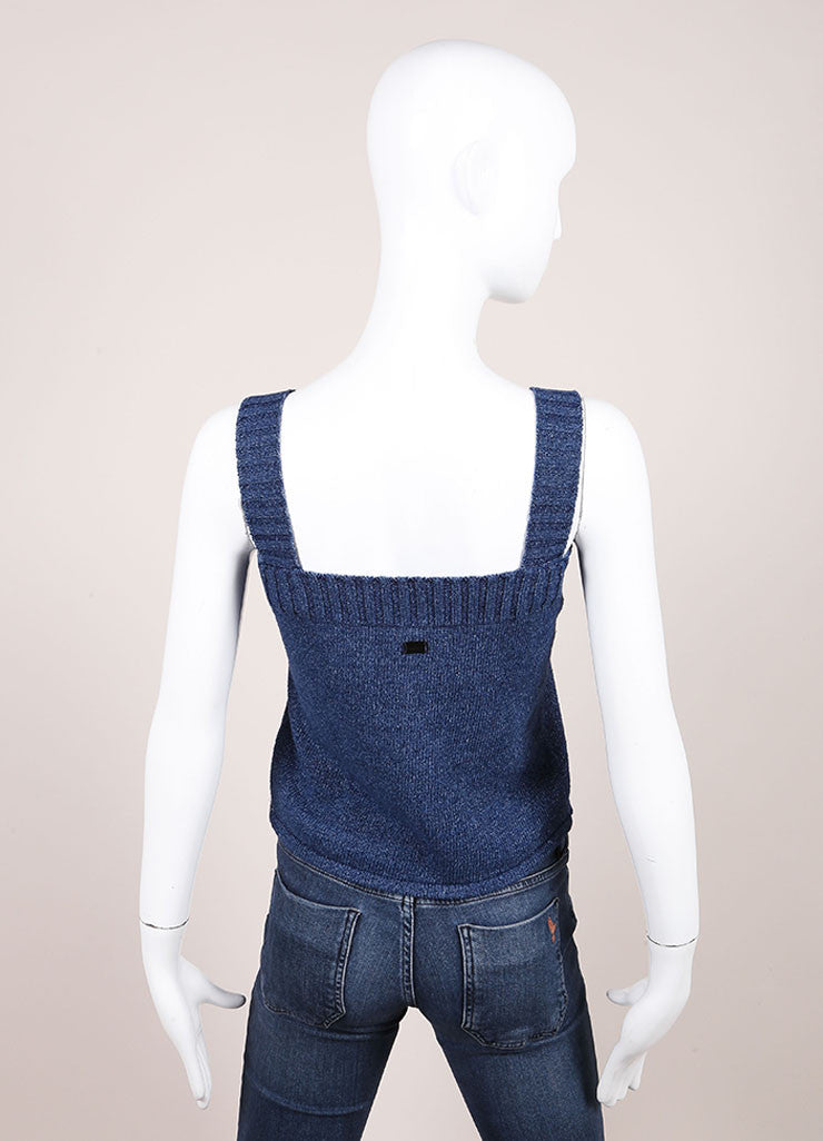 Chanel Navy Mock Denim Cotton Ribbed Trim Chest Pocket Tank Top Backview