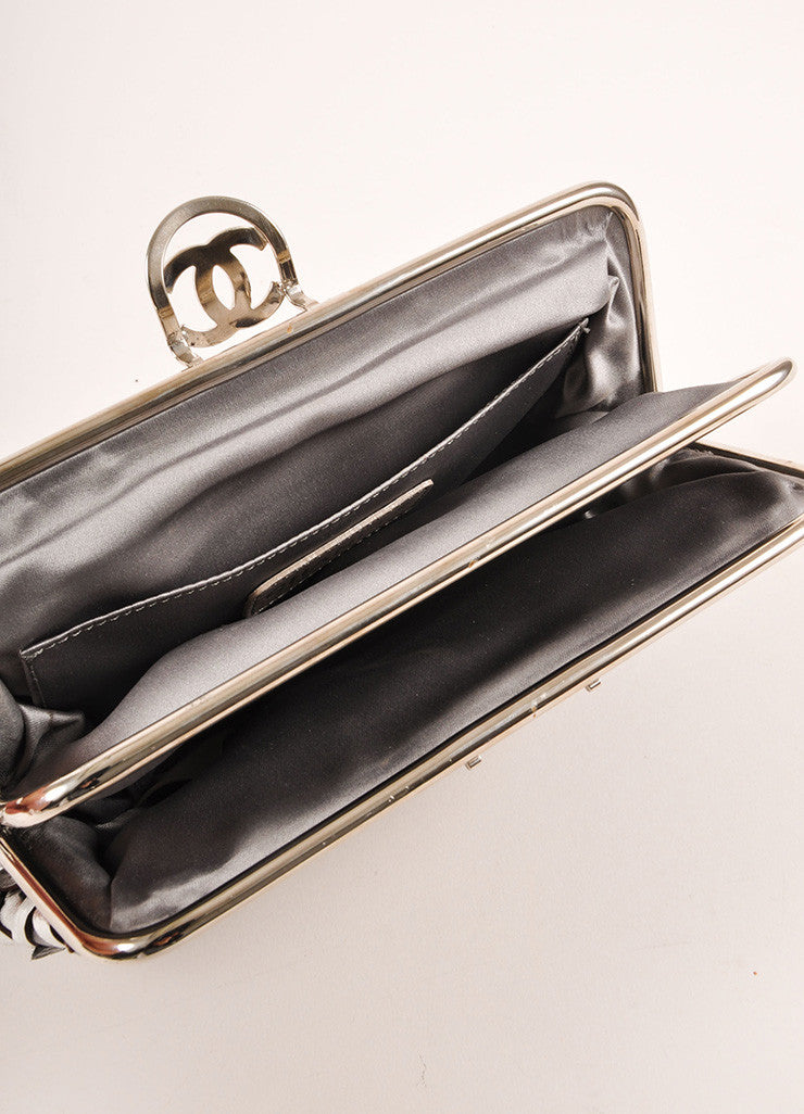 "Chanel Black Metallic, Silver, and Bronze Leather ""CC"" Patchwork Clutch Bag Interior"
