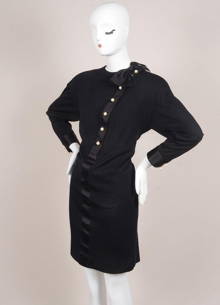 Chanel Black Wool and Silk Faux Pearl Embellished Bow Long Sleeve Shift Dress Sideview