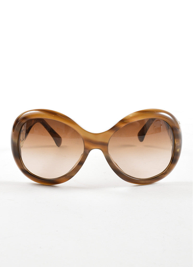 "Chanel Brown Striped ""5193 B"" Oversized Oval Sunglasses Frontview"