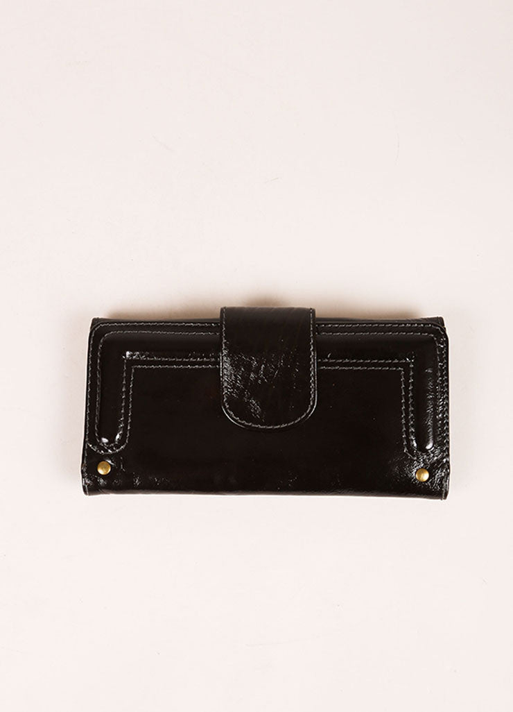 Chloe Black and Brass Tone Patent Leather Flap Continental Wallet Backview
