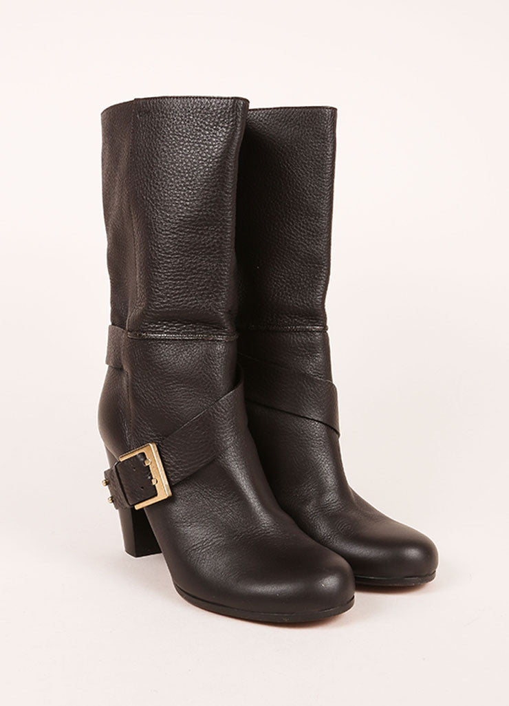 Chloe Dark Brown Leather Harness Mid Calf Boots Frontview