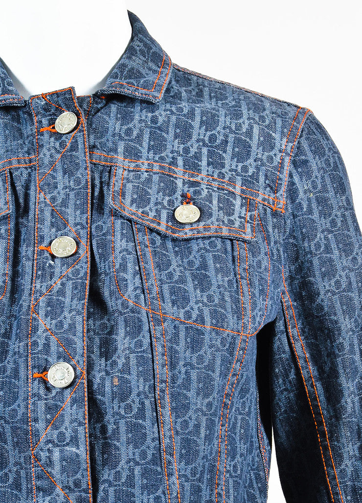 Christian Dior Blue Denim Logo Printed Stitched Detail Jean Jacket Detail