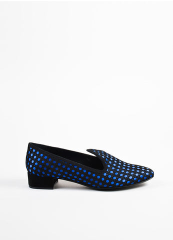 "Black and Blue Christian Dior Satin Suede ""Cannage"" Loafers Side"