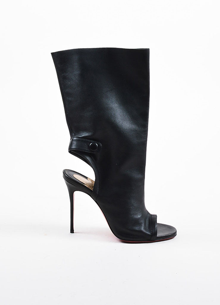 "Christian Louboutin Black Leather Open Heel ""Mistinguetre"" Boots Sideview"